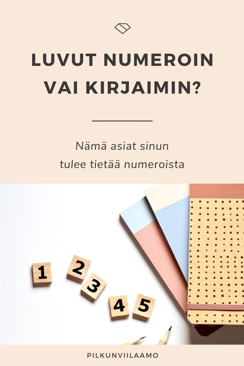 Luvut numeroin vai kirjaimin? Nämä asiat sinun tulee tietää numeroista